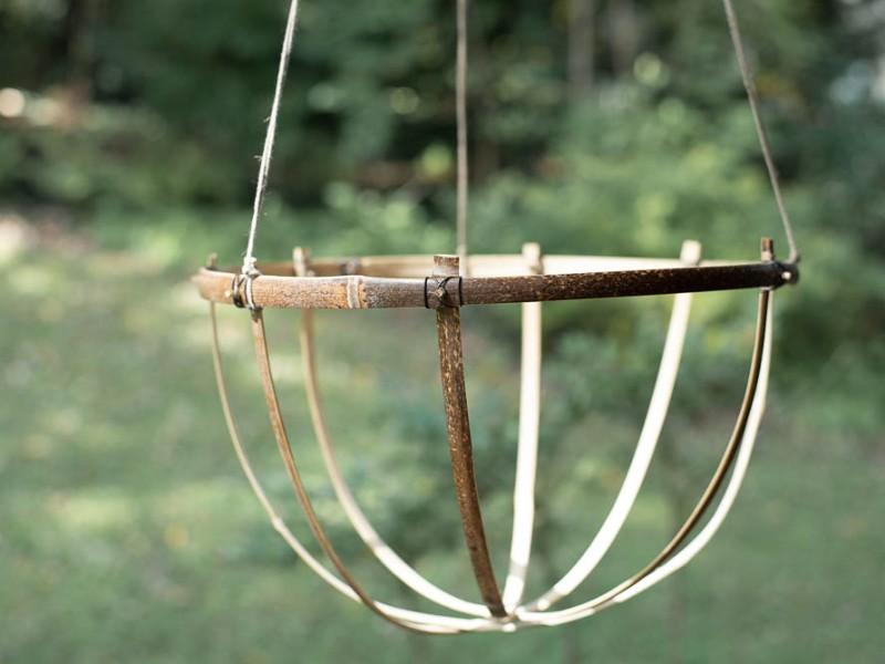 A bamboo hanging basket